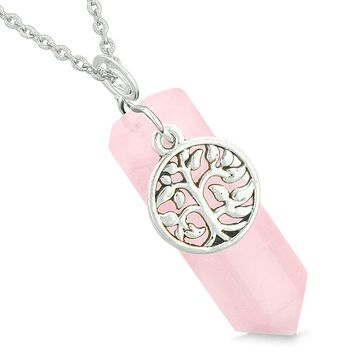 Magical Tree of Life Energy Amulet Lucky Crystal Point Rose Quartz Pendant 18 Inch Necklace