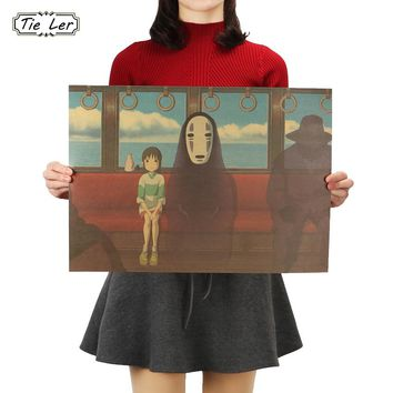 TIE LER Spirited Away No Face Man Classic Cartoon Film Kraft Paper Bar Poster Retro Wall Sticker Decorative Painting 51.5X36cm