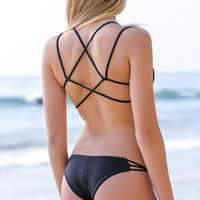 The Girl and The Water - Frankie's Bikinis - Kaia Bikini Top Black - $88