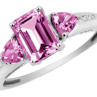 Created Pink Sapphire Ring with Diamonds 1.66 Carat (ctw) in 10K White Gold, Size 4.5