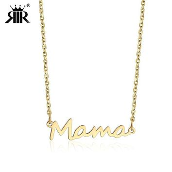 RIR Delicate Letter Mama Necklace Mothers Love Pendant Jewelry Best Minimal Necklace for Moms Mother's Day Gifts