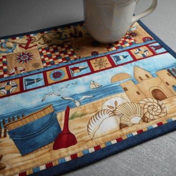 Quilted Candle Mat, Nautical Mug Rug, Debbie Mumm fabric, Gift for a Teacher, Americana Home Decor, quilted mini quilt, red white blue table