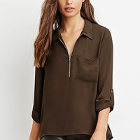 Zip-Front Pocket Shirt