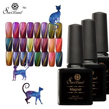 Saviland 1pcs UV Soak Off Cat Eyes Glitter Chameleon Nail Gel Polish Magnet Effect Sticker need to use Black Base Gel