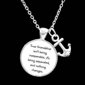 Best Friends True Friendship Long Distance Friend Anchor Gift Necklace