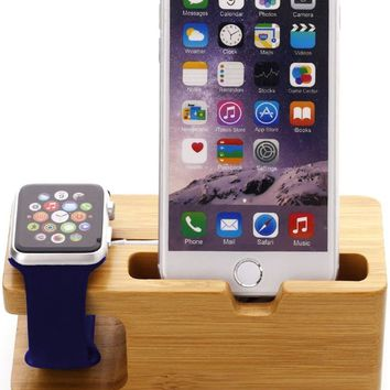 GPCT [100% Natural Bamboo] iWatch Wood Charging Stand/Stock Cradle Holder/Dock Nightstand Station [2 in 1] For Apple iPhone 7 Plus/7/6s/6/5S/5C/5/SE & Apple Watch Series 1 & 2, 38 MM/42MM Watch!