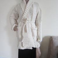 IVORY CARDIGAN/ chunky knit cardgian/ Winter white cardigan/ womens cardigan/ ivory sweater/cardigan/womens knit cardigan