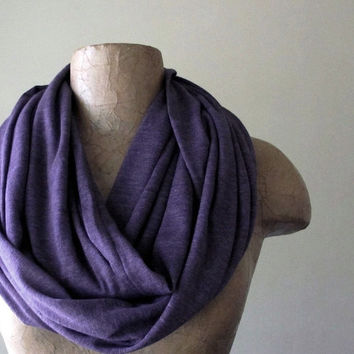 Heather Purple Infinity Scarf - Super Soft Circle Scarf - Eggplant Loop Scarf - Jersey Blend Eternity Scarf