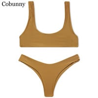 Cobunny Brand New Style Beach Swimsuit Women Sexy Bikini 2017 Sport Bikini Set Backless Solid Color Summer Beach Swimming Suit