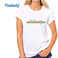 Tissbely Pink Floyd T Shirt Women Progressive and Psychedelic Music Colored Letter Memorial Tees Tops 1960s Rock Band