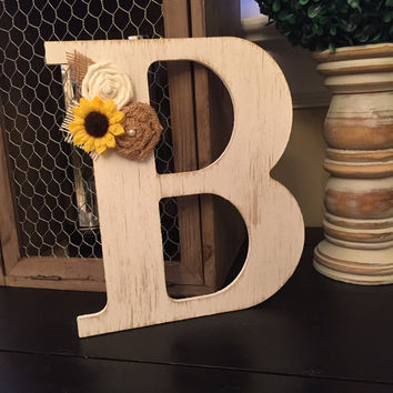 Sunflower Monogram Wreath - Rustic Monogram - Front Door Wreath - Door Hanger - Rustic Wreath - Year Round Wreath - Wall Decor