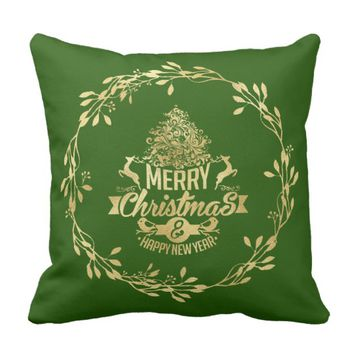 Gold Foil Christmas Tree & Deer Throw Pillow