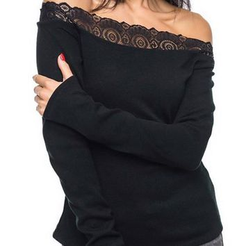 Black Patchwork Lace Boat Neck Long Sleeve Fashion T-Shirt