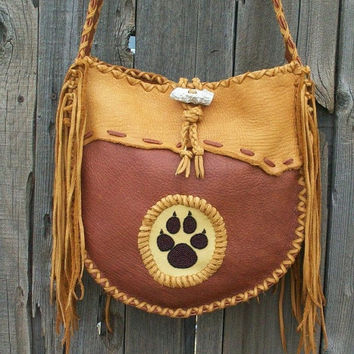 Buckskin tote with beaded wolf paw totem Fringed leather handbag Custom handbag
