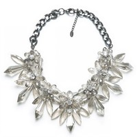 Snow flake crystal holiday necklace