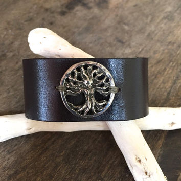 Tree of Life, Free Spirit, Rustic Leather Cuff, Boho Chic Jewelry by Two Silver Sisters twosilversisters