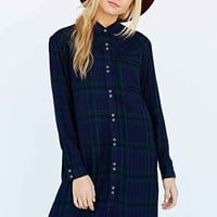 BDG Shirley Plaid Shirt Dress- Blue Multi