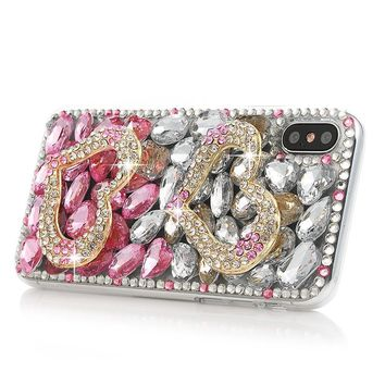 iPhone X Case, Mavis's Diary Full Edge Protective Plastic Case, 3D Handmade Crystal Clear Bling Pink and White Diamonds Shiny Rhinestone Double Heart Hard PC Cover for iPhone X Edition
