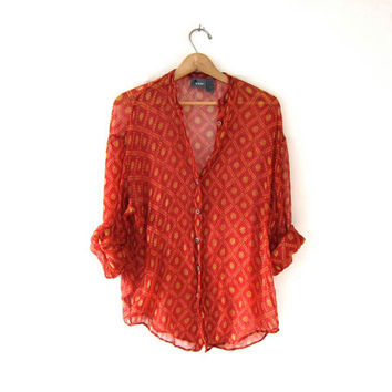 vintage sheer rayon shirt. button up blouse. long sleeve printed blouse. boho tribal gypsy. deep red, ochre and olive.