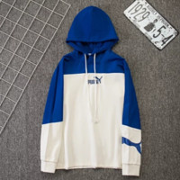 PUMA Fashion New Bust Embroidery Letter And Back Letter Print Women Men Hooded Long Sleeve Sweater Blue