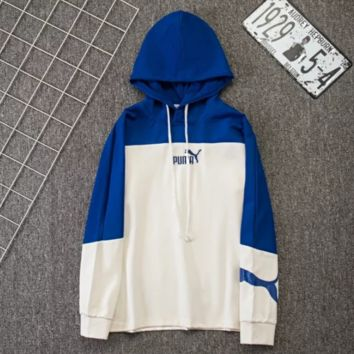 PUMA Fashion New Bust Embroidery Letter Horse And Back Letter Print Women Men Hooded Long Sleeve Sweater Blue