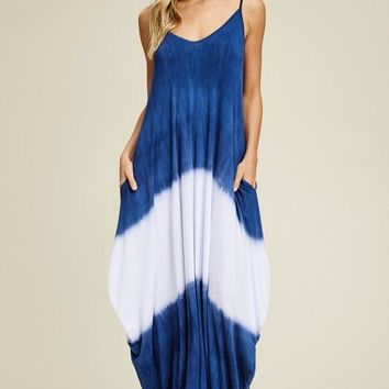 Boho Vibes Tie Dye Maxi Dress - Navy