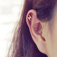 New 16g Lightning Bolt Barbell Ear Piercing Stud, cartilage earring tragus helix conch Piercing / Sold as 1 piece