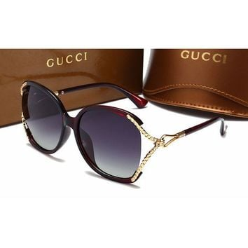 Gucci Fashion Women Casual Sun Shades Eyeglasses Glasses Sunglasses Red G