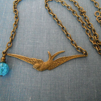 Blue Vintage Brass Swallow Necklace Sparrow Bird Gift fashion under 30