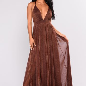 Sweet Aurora Pleated Dress - Brown