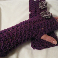 Fingerless Gloves Floral  Crochet Purple for Women and Teen Girls Winter Accessory, Fashion Accessory
