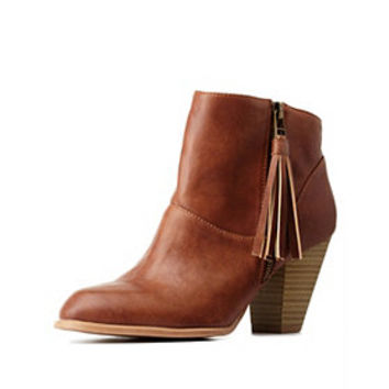 Qupid Side-Tassel Chunky Heel Booties