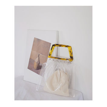 INVISIBILITY COLLECTION--Handmade Minimalism Clear Transparent bag/tote bag/shopper bag with acrylic Handle