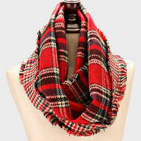Plaid Infinity Cozy Scarf Red