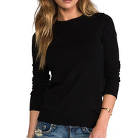 Autumn Cashmere Raw Edge Crew in Black