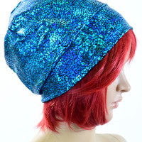 Turquoise on Black Shattered Glass Holographic Beanie Hat