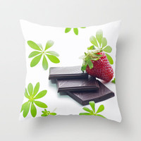 Strawberries and chocolate time Throw Pillow by Tanja Riedel