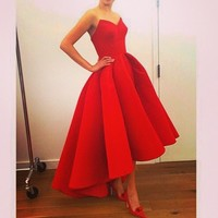 Red Satin High Low Simple Prom Dres