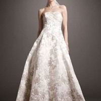 Satin Ball Gown with Ombre Beaded Lace Appliques - David's Bridal