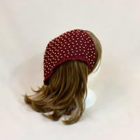 Beaded Red Bandana Boho Hair Cover Kerchief Burgundy Head Scarf Ties Cover Fascinator