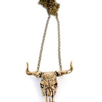 Bull Skull Necklace - Bronze - Spanish Moss