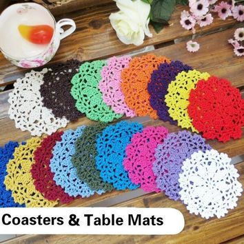 4 Pcs Handmade Multicolor Flower Placemat Table Mat Handmade Lace Cup Pad Crochet