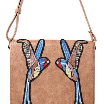Brown Crossbody Bag With Bird Embroidery