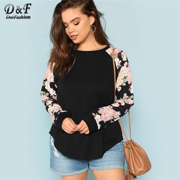 Dotfashion Plus Size Black Round Neck Floral Raglan Sleeve Tops Women Casual Tee 2018 Autumn Long Sleeve Clothing Spring T-Shirt