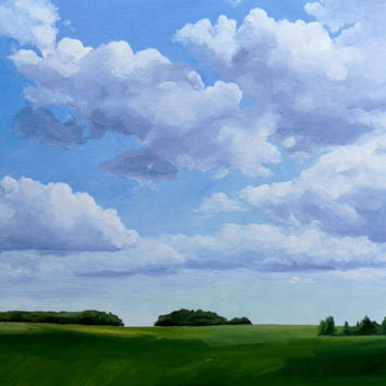 Original Oil Painting, Landscape Painting, 11x14 Wall Decor, Blue Sky Cloud Painting