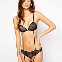 ASOS Splodge Mesh Strappy Triangle Bra