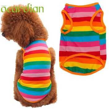 Ocardian 100% Brand New Home Fashion Rainbow Stripe Western Style Pet Dog Clothes1pcs Quality first DROP SHIP