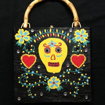 Sugar Skull Cigar Box Purse, Day Of The Dead, Hand Painted, OOAK