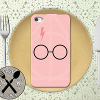 Harry Potter Inspired Glasses Scar Deathly Hallows Pink Custom Rubber Tough Phone Case For The iPhone 4 and 4s and iPhone 5 and 5s and 5c