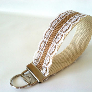 Burlap Lace Key Fob - Rustic Key Chain, Natural Off-White Cream Wristlet Keychain, Wrist Strap, Key Holder, Burlap & Lace Key Chain